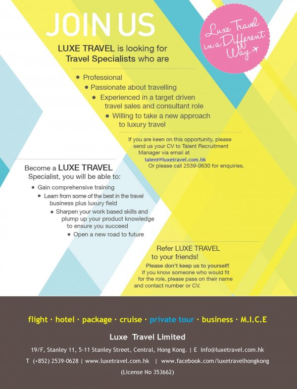 Travel Specialist Luxe Travel Hong Kong